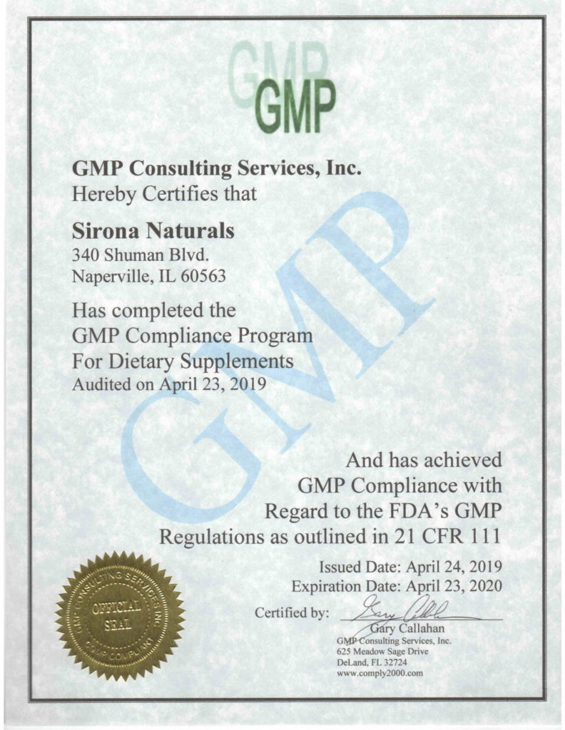 Sirona Naturals is Good Manufacturing Practice (GMP) Certified